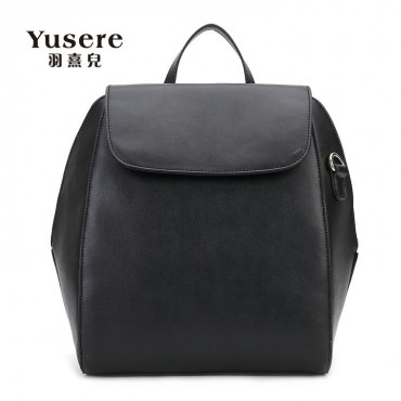 Genuine Leather Backpack Bag Black 75688