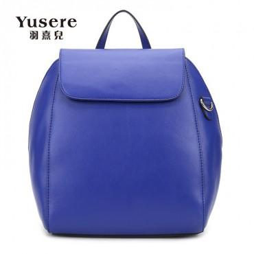 Genuine Leather Backpack Bag Dark Blue 75688