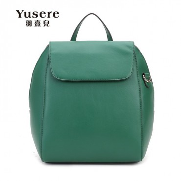 Genuine Leather Backpack Bag Dark Green 75688