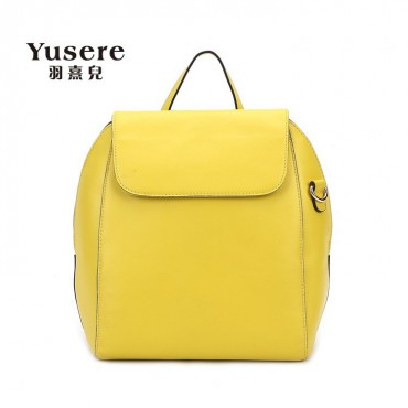 Genuine Leather Backpack Bag Yellow 75688