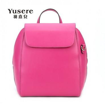 Genuine Leather Backpack Bag Magenta 75688