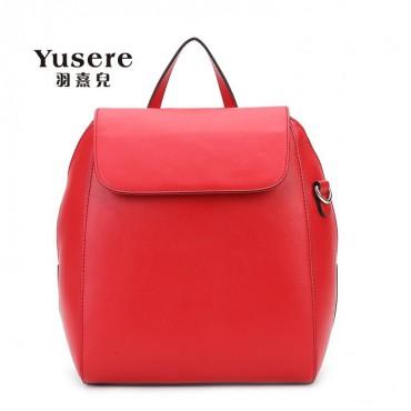 Genuine Leather Backpack Bag Red 75688