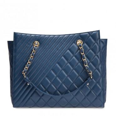 Angela Genuine Leather Tote Bag Blue 75108