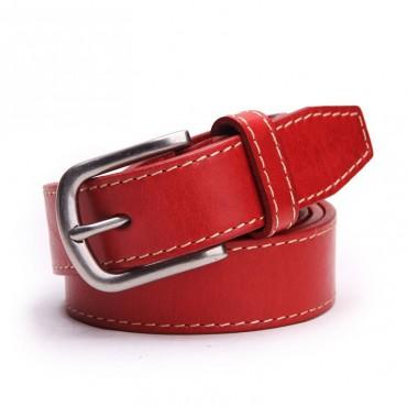 Genuine Cowhide Leather Belt Red 86309