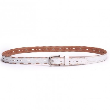 Genuine Cowhide Leather Belt White 86311