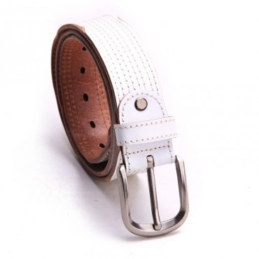 Genuine Cowhide Leather Belt White 86315
