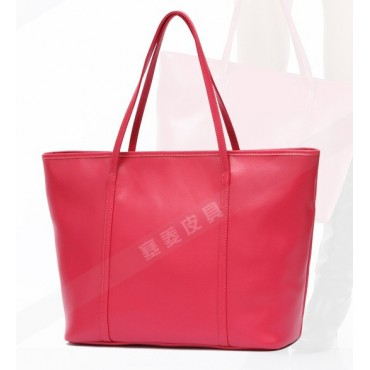 Genuine Leather Tote Bag Red 75579