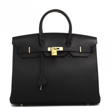Rosaire « Beaubourg » Genuine Cowhide Full Grain Leather Top Handle Bag Padlock in Black / Gold 15881