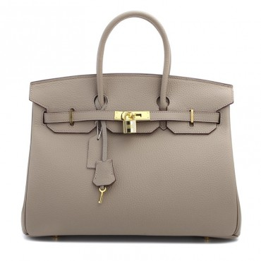 Rosaire « Beaubourg » Genuine Cowhide Full Grain Leather Top Handle Bag Padlock in Taupe Gold / 15881