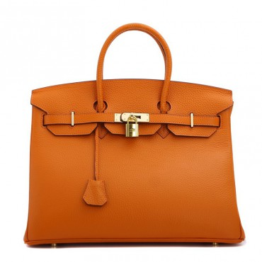 Rosaire « Beaubourg » Genuine Cowhide Full Grain Leather Top Handle Bag Padlock in Orange / Gold 15881