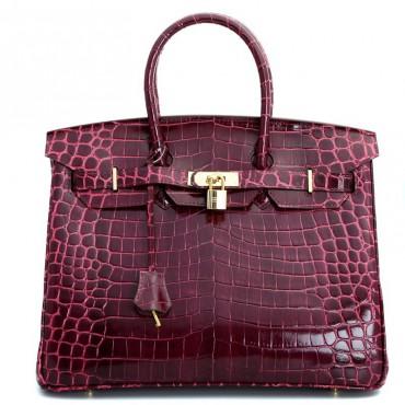 Rosaire « Beaubourg » Genuine Cowhide Leather Crocodile Pattern Top Handle Bag Padlock Purple / Gold 15886