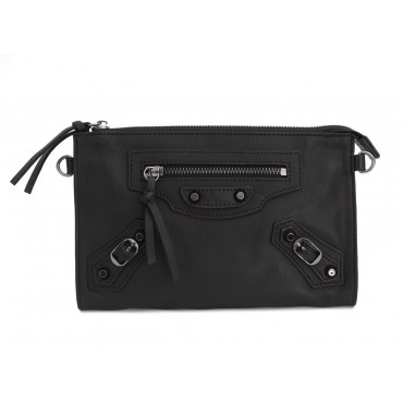 Rosaire « Amboise » Lambskin Leather Studded Clutch Bag Purse in Black Color 15980