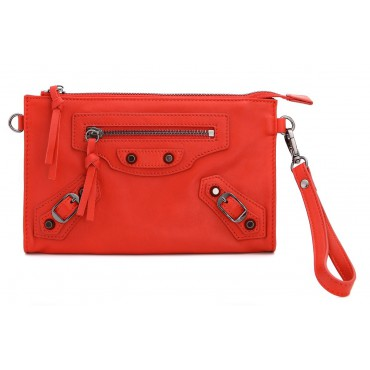 Rosaire « Amboise » Lambskin Leather Studded Clutch Bag Purse in Red Color 15980