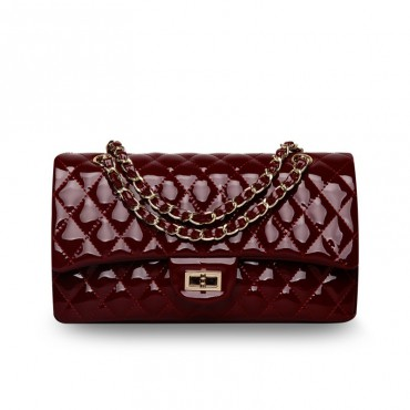 Rosaire « Morgane » Quilted Patent Leather Double Flap Shoulder Handbag with Chain and Leather Strap in Red Wine Color / 76101