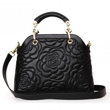 Rosaire « Lucienne » Women's Top Handle Sheepskin Leather Bag Camellia Pattern Black 76102