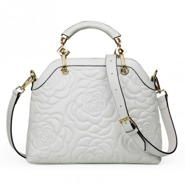 Rosaire « Lucienne » Women's Top Handle Sheepskin Leather Bag Camellia Pattern White 76102