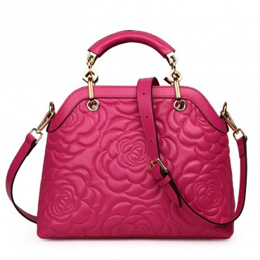 Rosaire « Lucienne » Women's Top Handle Sheepskin Leather Bag Camellia Pattern Magenta 76102