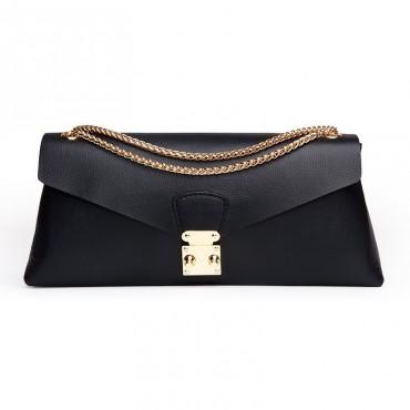 Rosaire « Margherita » Women's Shoulder Bag Genuine Cowhide Leather Black 76103