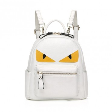 Rosaire « Fantasma » Monster Eyes Backpack Bag made of Cowhide Leather in White Color 76104