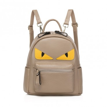 Rosaire « Fantasma » Monster Eyes Backpack Bag made of Cowhide Leather in Taupe Color 76104