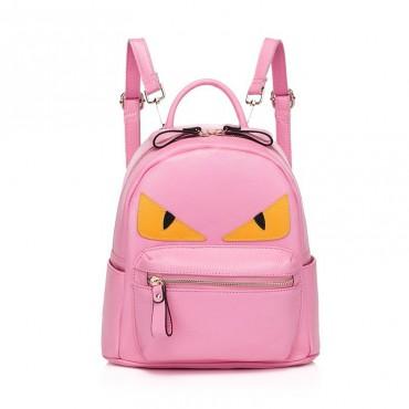 Rosaire « Fantasma » Monster Eyes Backpack Bag made of Cowhide Leather in Pink Color 76104