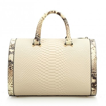 Rosaire « Giuliana » Women's Top Handle Bag Boston Snake Style Beige 76105