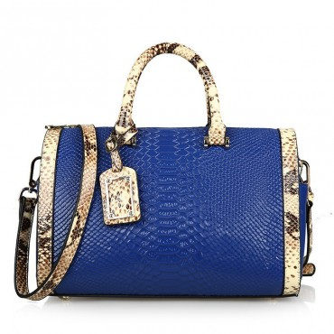 Rosaire « Giuliana » Women's Top Handle Bag Boston Snake Style Blue 76105