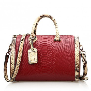 Rosaire « Giuliana » Women's Top Handle Bag Boston Snake Style Red 76105