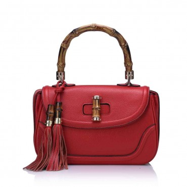 Rosaire « Sofia » Women's Top Handle Bamboo Bag Genuine Cow Leather Red 76108