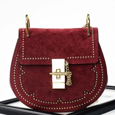 Rosaire « Margot » Women's Shoulder Handbag Genuine Suede & Smooth Calfskin Leather Red 76110