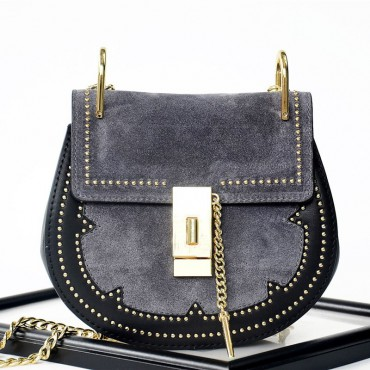 Rosaire « Margot » Women's Shoulder Handbag Genuine Suede & Smooth Calfskin Leather Blue 76110