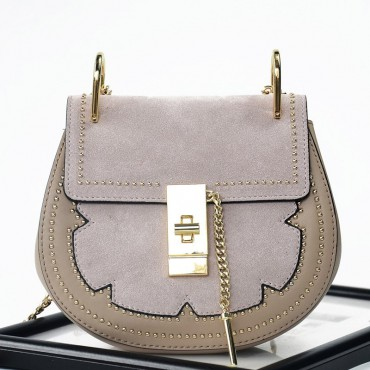 Rosaire « Margot » Women's Shoulder Handbag Genuine Suede & Smooth Calfskin Leather Beige 76110