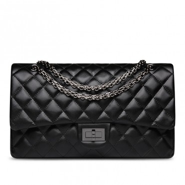 Rosaire « Morgane » Women's Quilted Lambskin Leather Double Flap Shoulder Handbag with Chain in Black Color / 76111