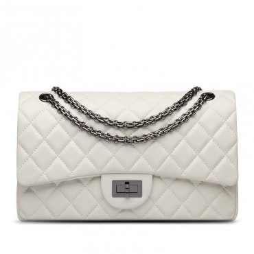 Rosaire « Morgane » Women's Quilted Lambskin Leather Double Flap Shoulder Handbag with Chain in White Color / 76111