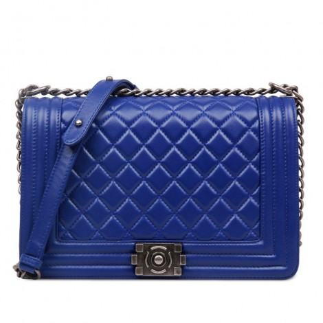 Rosaire « Soline » Quilted Lambskin Leather Shoulder Bag with Chain Link in Blue Color / 75134