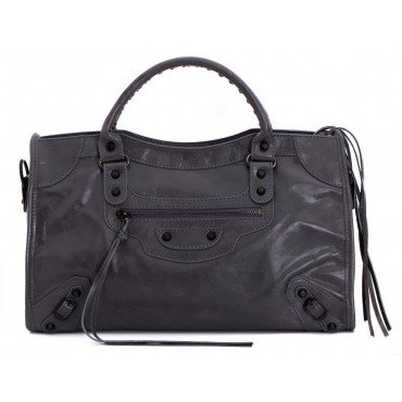 Rosaire « Celestine » Chèvre (Goatskin) Leather Top Handle Bag in Gray Color / 76112