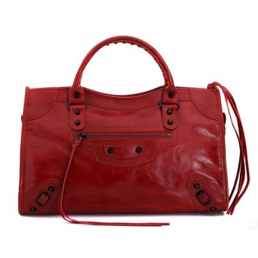 Rosaire « Celestine » Chèvre (Goatskin) Leather Top Handle Bag in Red Color / 76112