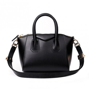 Rosaire « Orietta » Calfskin Leather Satchel Top Handle Bag Trapezoid Shape in Black Color 76113