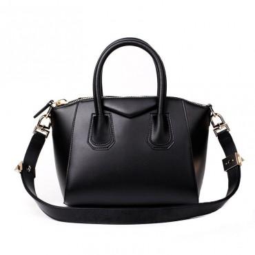 Rosaire « Orietta » Calfskin Leather Satchel Top Handle Bag Trapezoid Shape in Black Color 76113