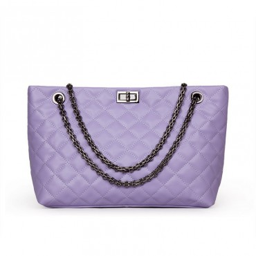 Rosaire « Apolline » Quilted Tote Bag Cowhide Leather with Chain Shoulder Strap in Light Purple Color / 75135
