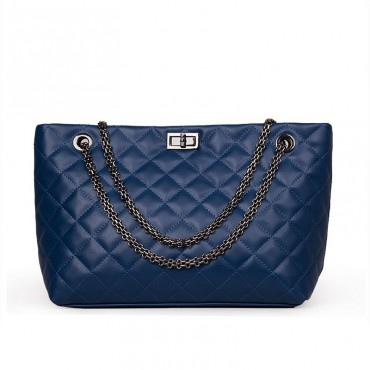 Rosaire « Apolline » Quilted Tote Bag Cowhide Leather with Chain Shoulder Strap in Blue Color / 75135