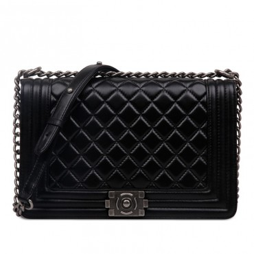 Rosaire « Soline » Quilted Lambskin Leather Shoulder Bag with Chain Link in Black Color / 75134