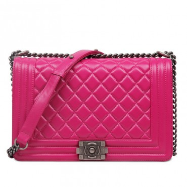 Rosaire « Soline » Quilted Lambskin Leather Shoulder Bag with Chain Link in Pink Color / 75134