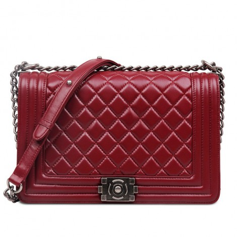 Rosaire « Soline » Quilted Lambskin Leather Shoulder Bag with Chain Link in Red Wine Color / 75134