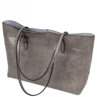 Rosaire « Veronica » Horizontal Tote Bag made of Cowhide Leather in Gray Color / 76114