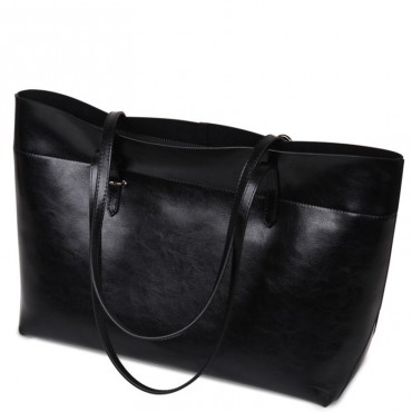 Rosaire « Veronica » Horizontal Tote Bag made of Cowhide Leather in Black Color / 76114
