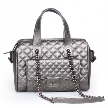 Rosaire Genuine Leather Bag Silver 76116