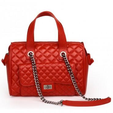 Rosaire Sac à main porté épaule en cuir Rouge 76116