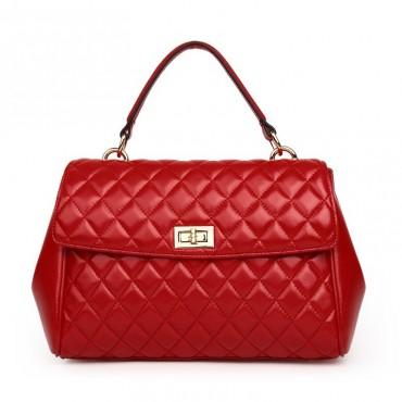 Rosaire Sac à main porté épaule en cuir Rouge 76117