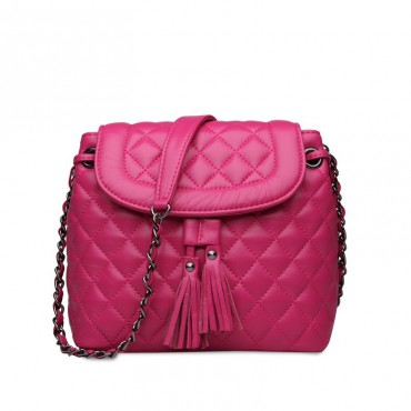 Rosaire Genuine Leather Bag Hot Pink 76120